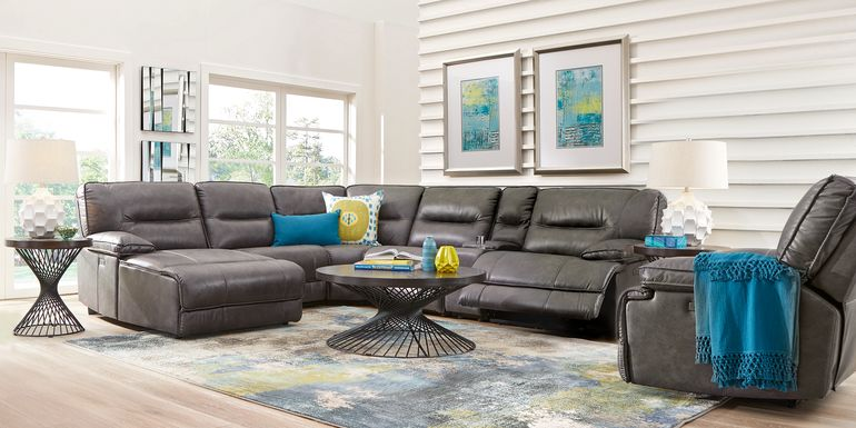 Caranova Dark Gray 6 Pc Dual Power Reclining Sectional with Chaise