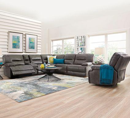 Caranova Dark Gray 9 Pc Dual Power Sectional Living Room
