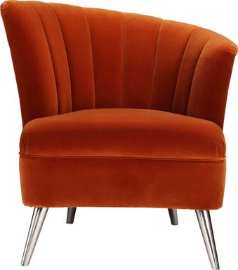 Carmela Orange Right Side Accent Chair