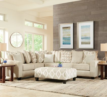 Carole Court Beige 2 Pc Sectional