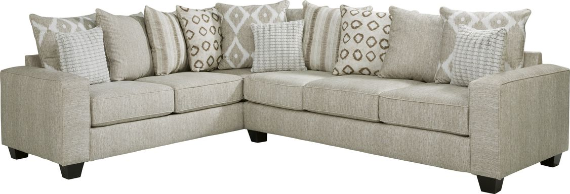 Carole Court Beige 2 Pc Sleeper Sectional