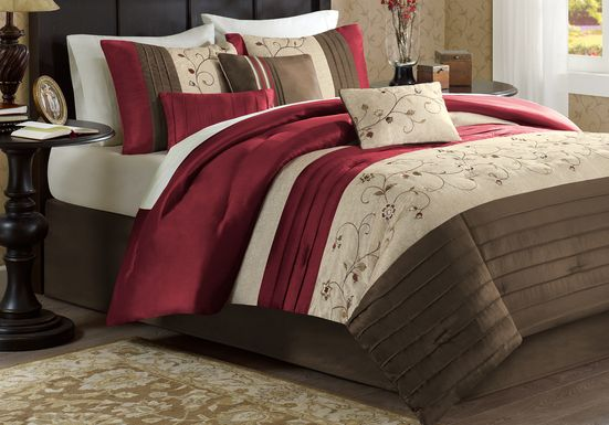 Carrigan Red 7 Pc King Comforter Set