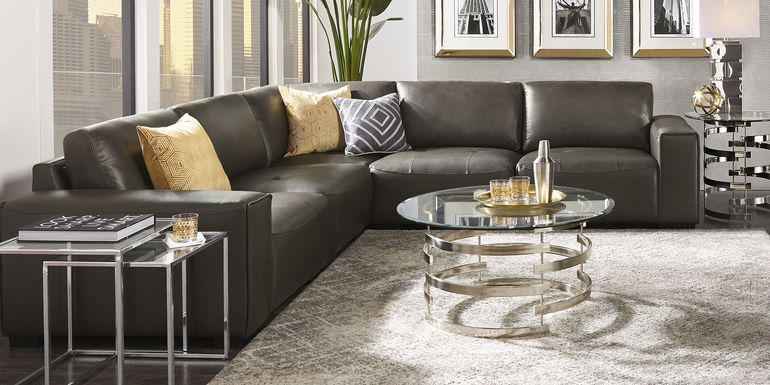 Cassano Dark Gray Leather 5 Pc Sectional