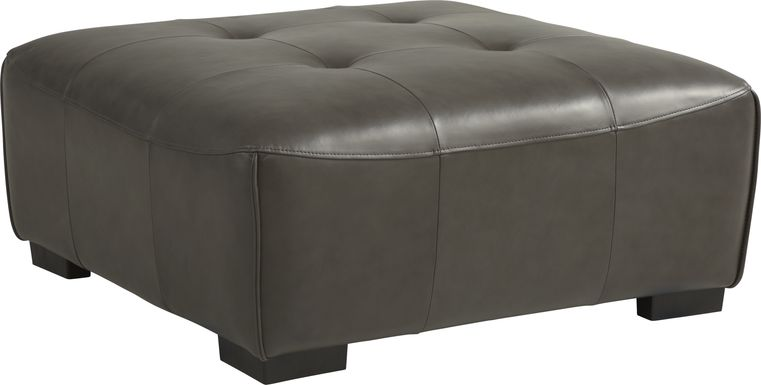 Cassano Dark Gray Leather Cocktail Ottoman