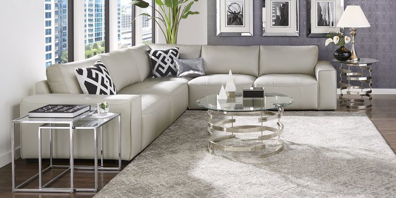 Cassano Light Gray Leather 5 Pc Sectional