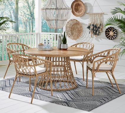 Catalina Natural 5 Pc Round Outdoor Dining Set
