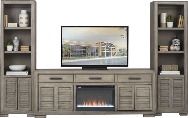 Cates Ridge Light Gray 3 Pc Wall Unit with Electric Fireplace
