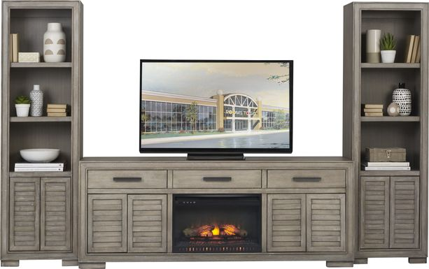 Cates Ridge Light Gray 3 Pc Wall Unit with Electric Log Fireplace