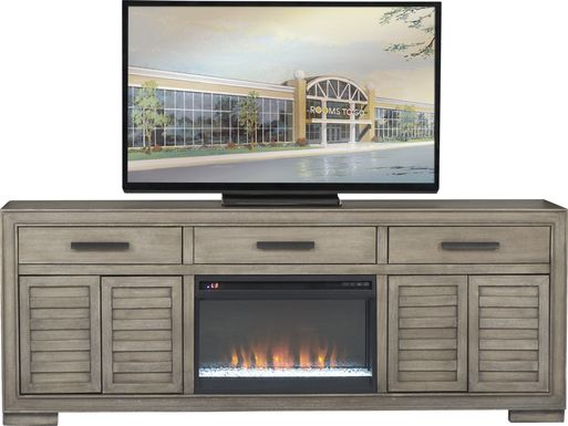 Cates Ridge Light Gray 81 in. Console with Electric Fireplace