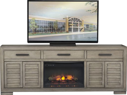 Cates Ridge Light Gray 81 in. Console with Electric Log Fireplace