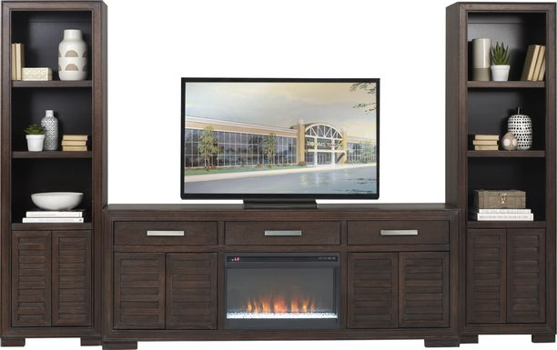 Cates Ridge Tobacco 3 Pc Wall Unit with Electric Fireplace