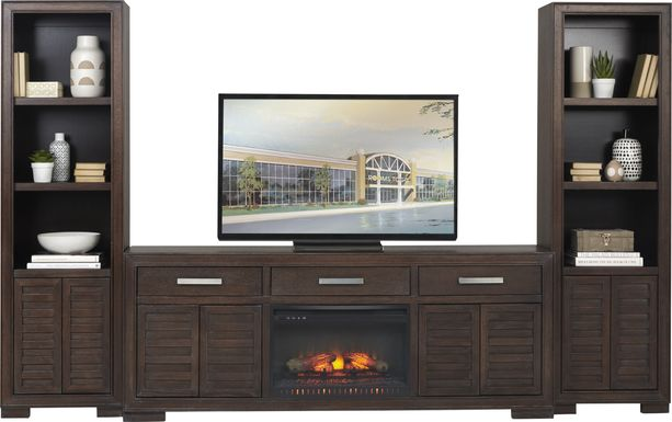 Cates Ridge Tobacco 3 Pc Wall Unit with Electric Log Fireplace
