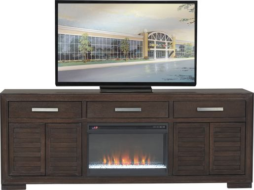 Cates Ridge Tobacco 81 in. Console with Electric Fireplace