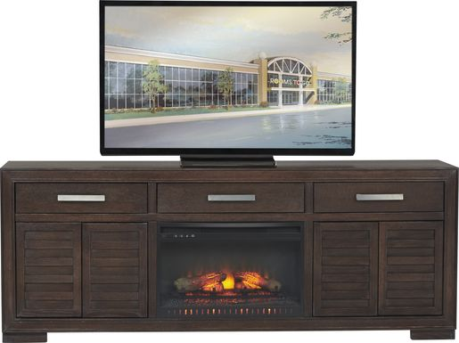 Cates Ridge Tobacco 81 in. Console with Electric Log Fireplace