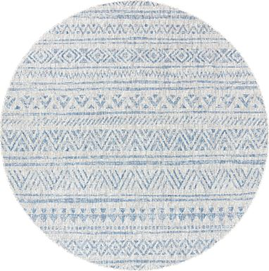 Cavella Blue 7'10 Round Indoor/Outdoor Rug