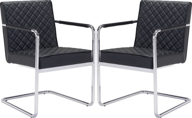 Cayler Black Arm Chairs (Set of 2)