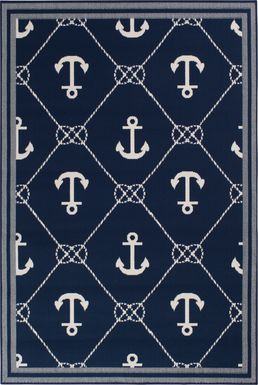 Cayson Anchor Navy 6'7 x 9'6 Indoor/Outdoor Rug