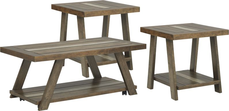 Cedar Creek Brown 3 Pc Table Set