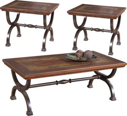 Cedar Grove Brown 3 Pc Table Set