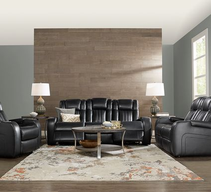 Cenova Black Leather 3 Pc  Living Room with Dual Power Reclining Sofa