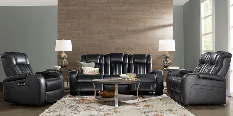Cenova Black Leather 5 Pc Living Room with Dual Power Reclining Sofa