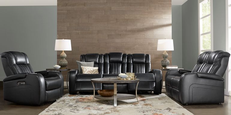 Cenova Black Leather 7 Pc Living Room with Dual Power Reclining Sofa