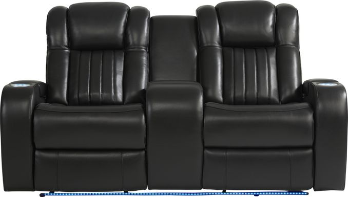 Cenova Black Leather Dual Power Reclining Console Loveseat