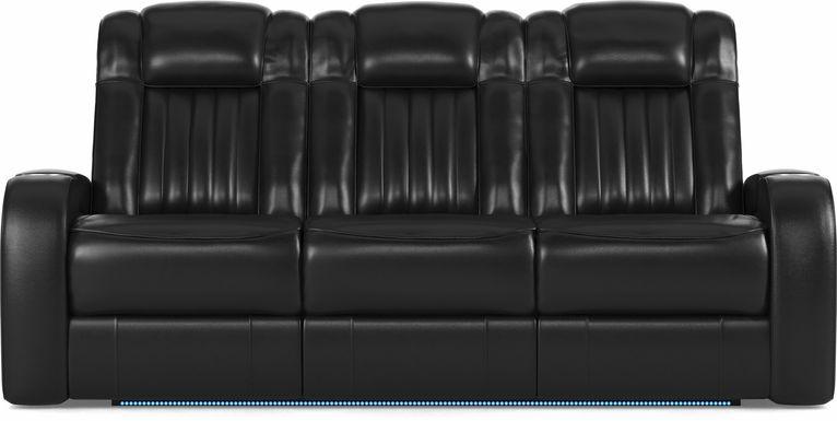 Cenova Black Leather Dual Power Reclining Sofa