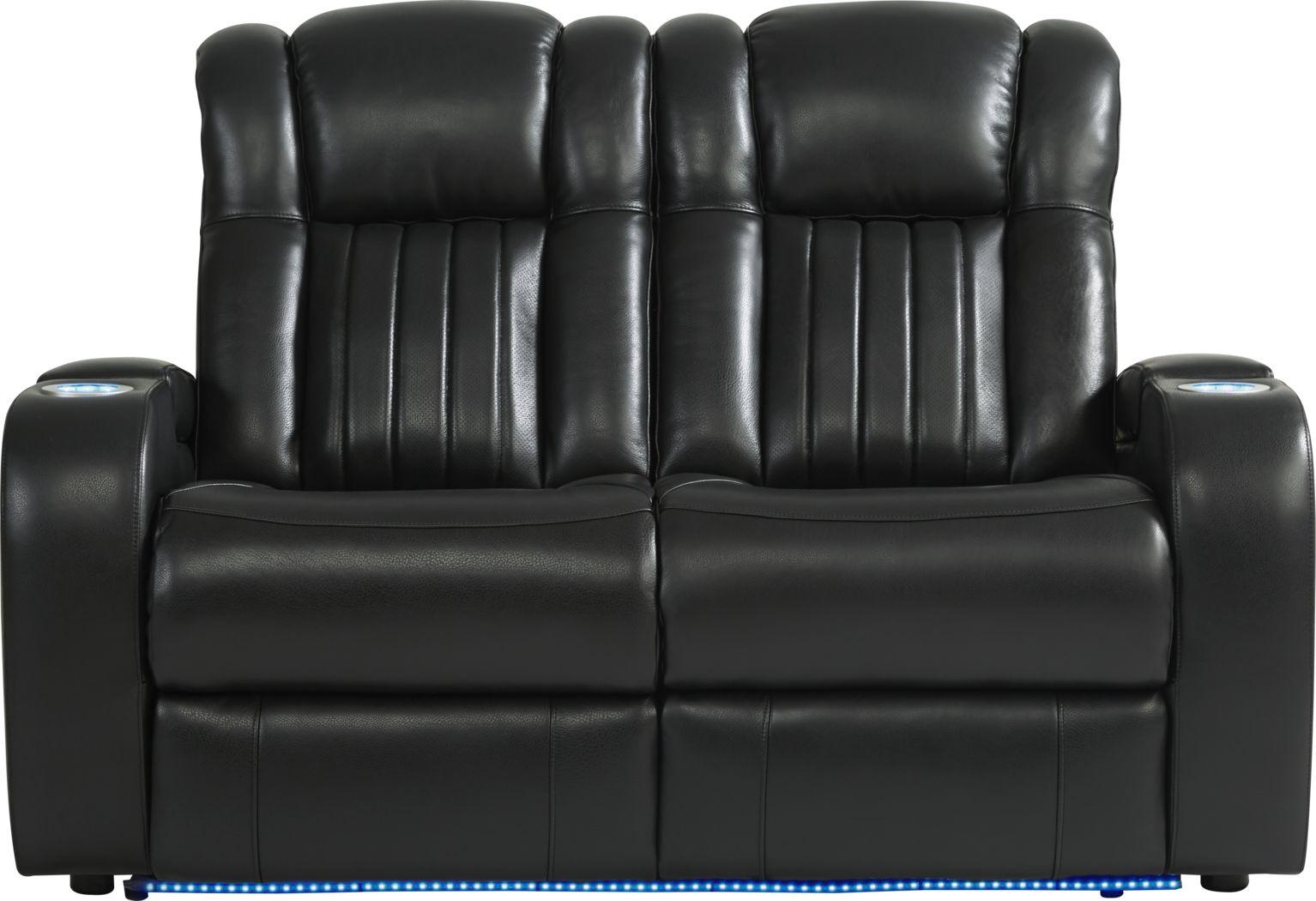 Cenova Black Leather Loveseat