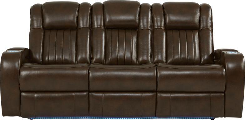 Cenova Brown Leather Dual Power Reclining Sofa