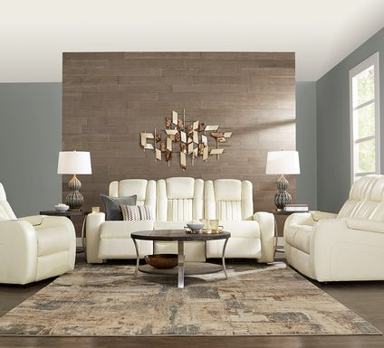 Cenova Ivory Leather 2 Pc Living Room with Dual Power Reclining Sofa