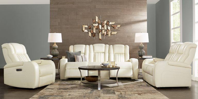 Cenova Ivory Leather 5 Pc Living Room with Dual Power Reclining Sofa