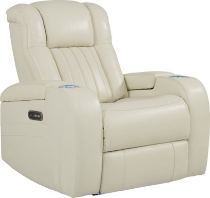 Cenova Ivory Leather Dual Power Recliner