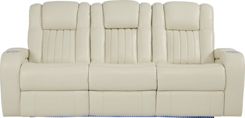 Cenova Ivory Leather Dual Power Reclining Sofa