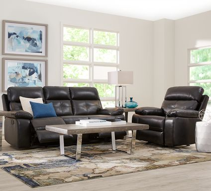 Cepano Black Leather 2 Pc Living Room with Reclining Sofa