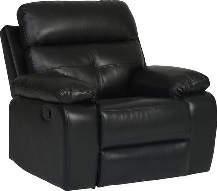 Cepano Black Leather Glider Recliner