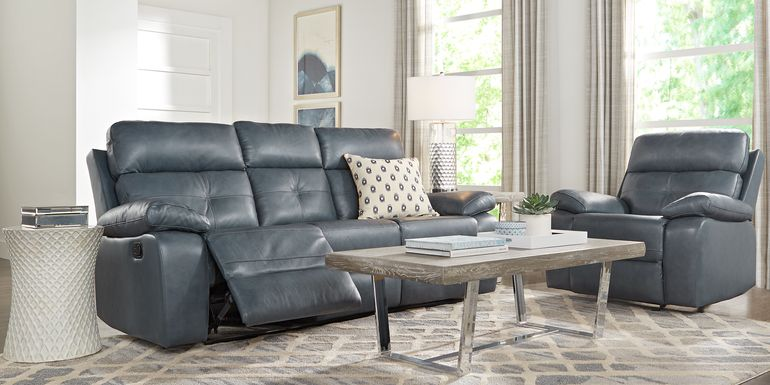 Cepano Blue Leather 2 Pc Living Room with Reclining Sofa