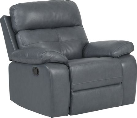 Cepano Blue Leather Glider Recliner