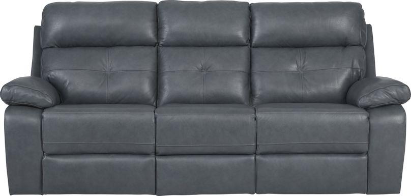 Cepano Blue Leather Reclining Sofa