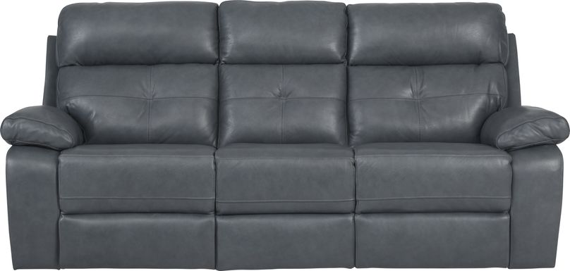 Cepano Blue Leather Reclining Sofa