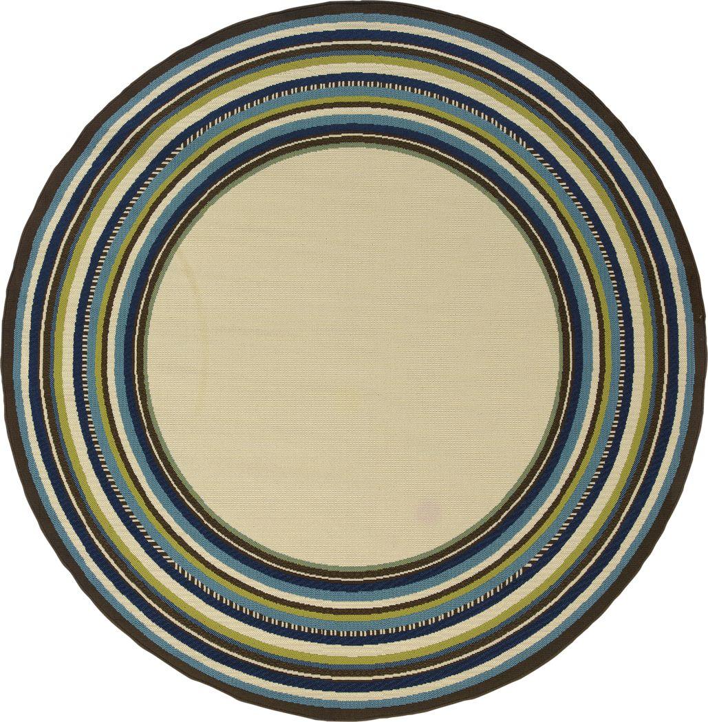 Cerimon Taupe 7'10 Round Indoor/Outdoor Rug