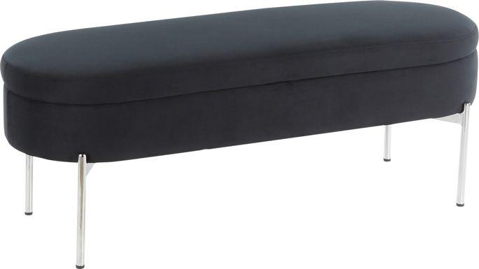 Chardan Black Chrome Storage Bench