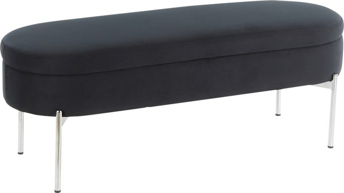 Chardan Black Chrome Storage Bench