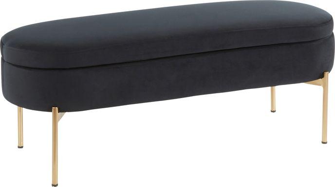 Chardan Black Storage Bench