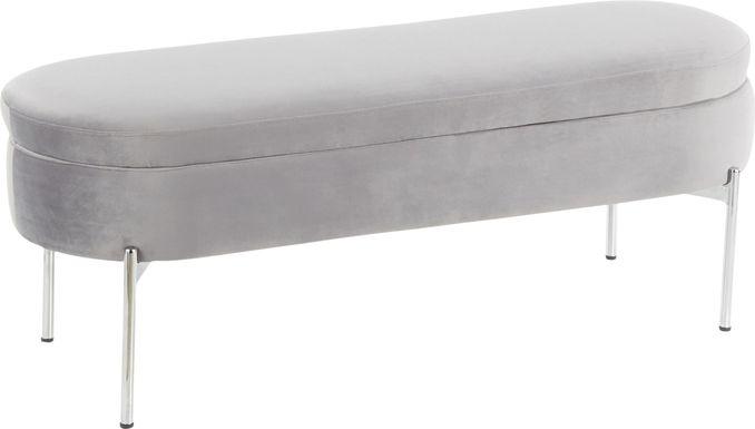 Chardan Gray Storage Bench