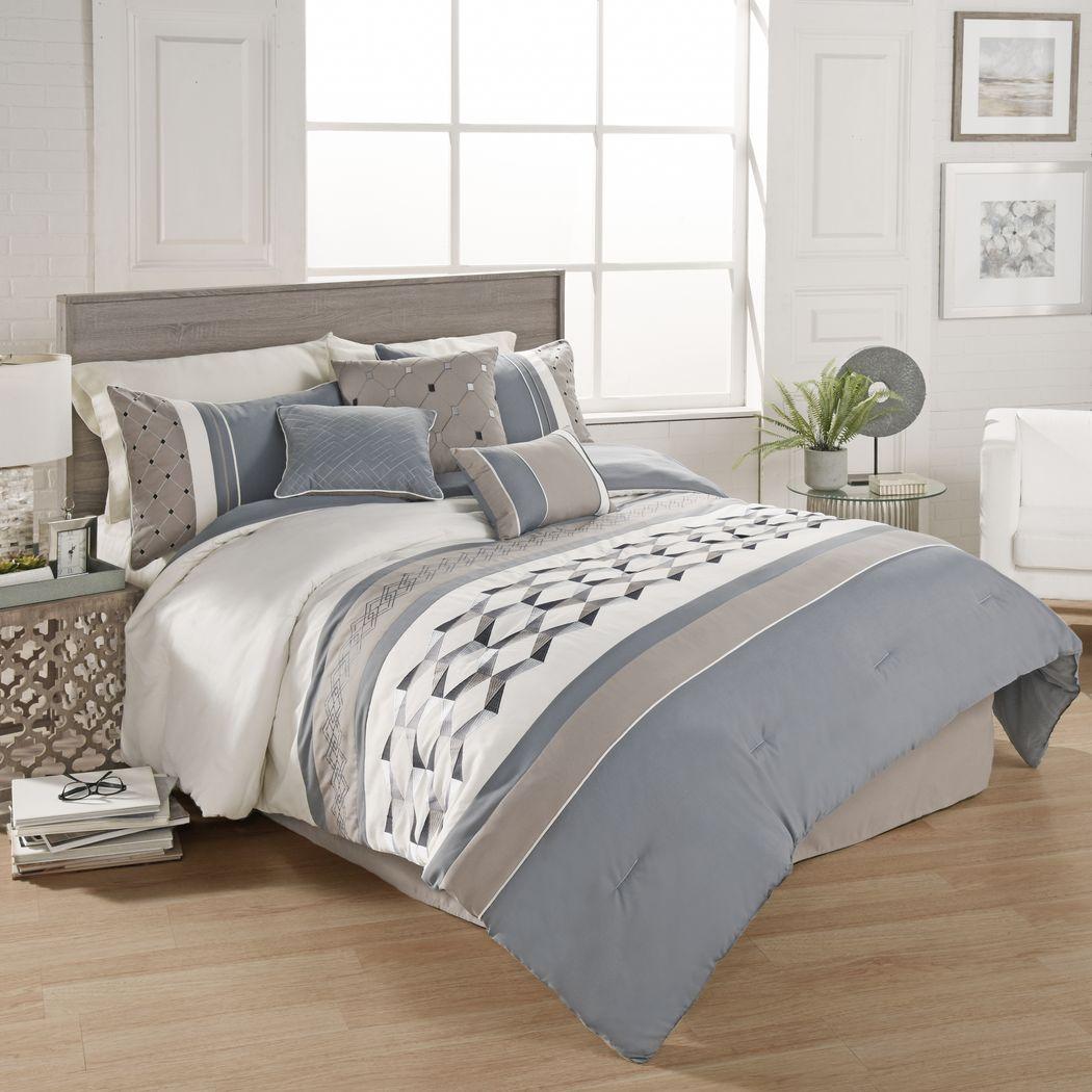 Charlyne Blue 7 Pc King Comforter Set