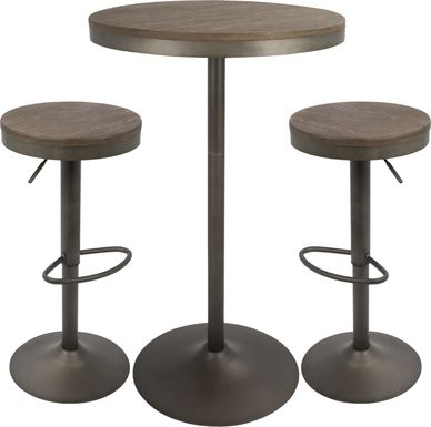 Chaz Brown 3 Pc Bar Height Dining Set