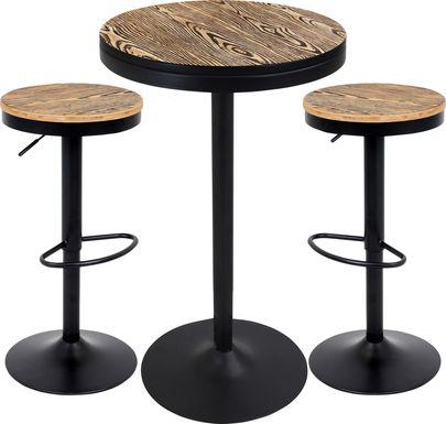 Chaz Light Brown 3 Pc Bar Height Dining Set