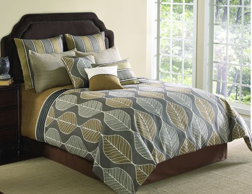 Chellvan Tan 10 Pc King Comforter Set