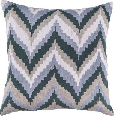 Chevron Beat Blue Accent Pillow